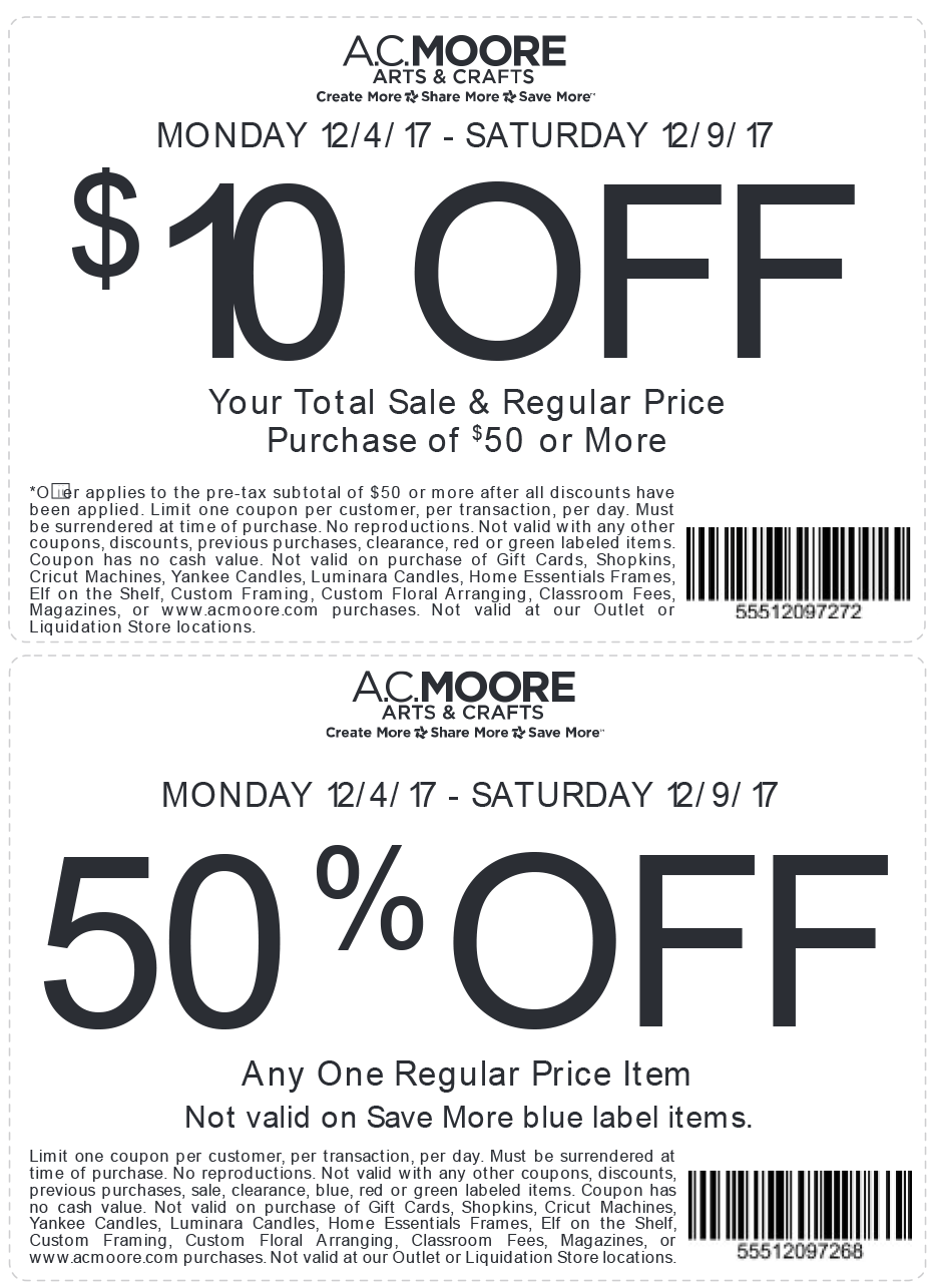 A.C. Moore Coupon May 2018 $10 off $50 & 50% off a single item at A.C. Moore