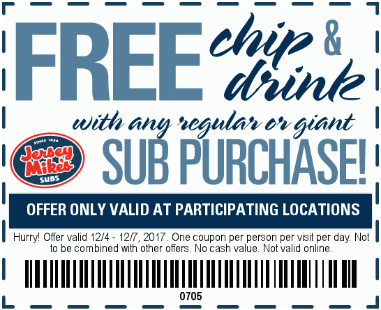 Jersey Mikes Coupon March 2018 Free chips & drink with your sub sandwich at Jersey Mikes