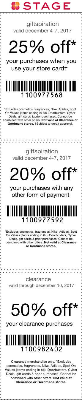 Stage Coupon January 2018 20% off at Stage stores