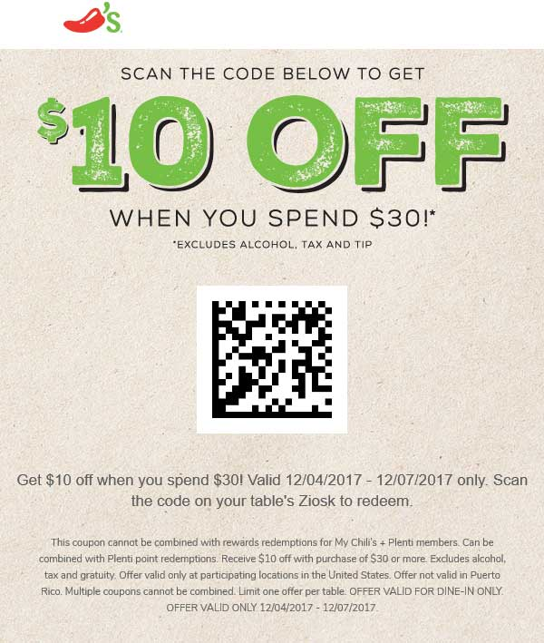 Chilis Coupon July 2018 $10 off $30 at Chilis restaurants