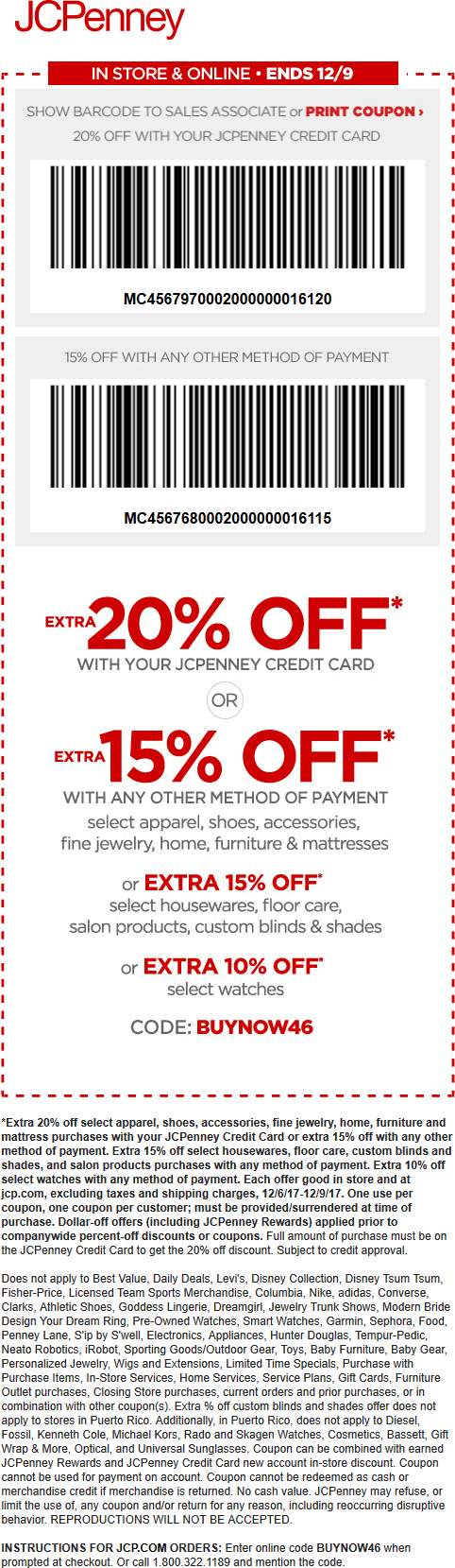 JCPenney.com Promo Coupon 15% off at JCPenney, or online via promo code BUYNOW46