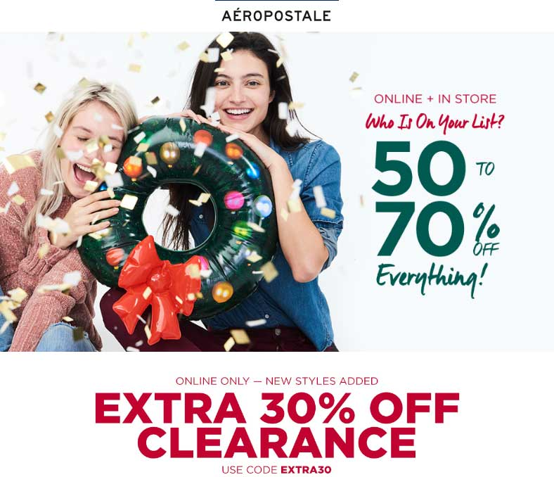 Aeropostale.com Promo Coupon 50-70% off everything at Aeropostale, ditto online
