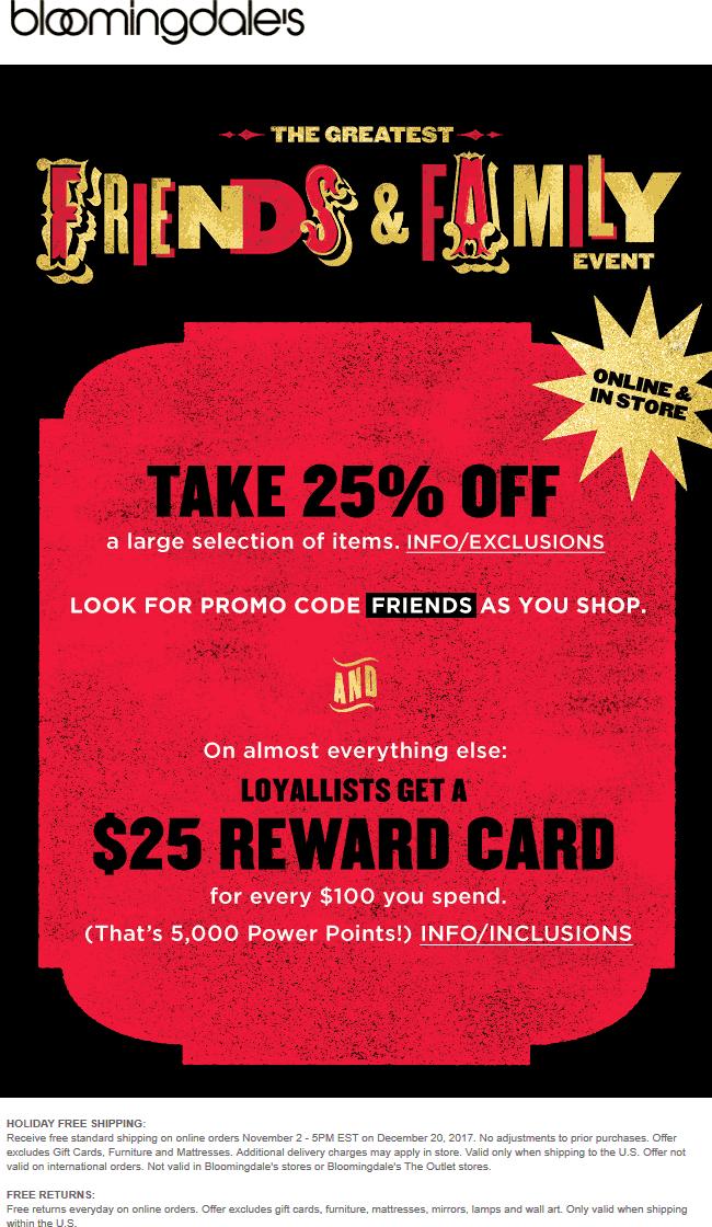 Bloomingdales Coupon April 2018 25% off at Bloomingdales, or online via promo code FRIENDS