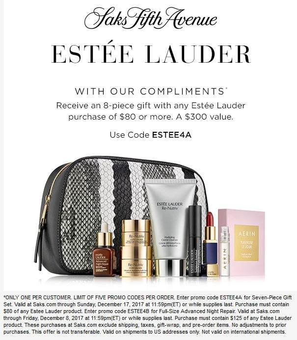 SaksFifthAvenue.com Promo Coupon $300 gift set free with $80 spent online at Saks Fifth Avenue via promo code ESTEE4A