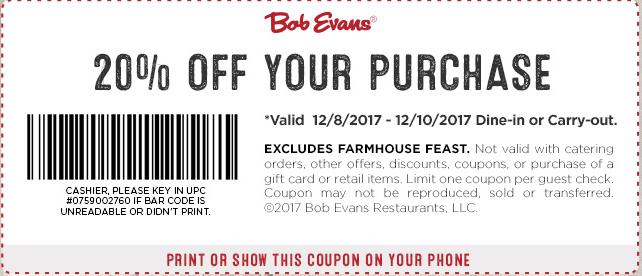Bob Evans Coupon April 2019 20% off at Bob Evans restaurants