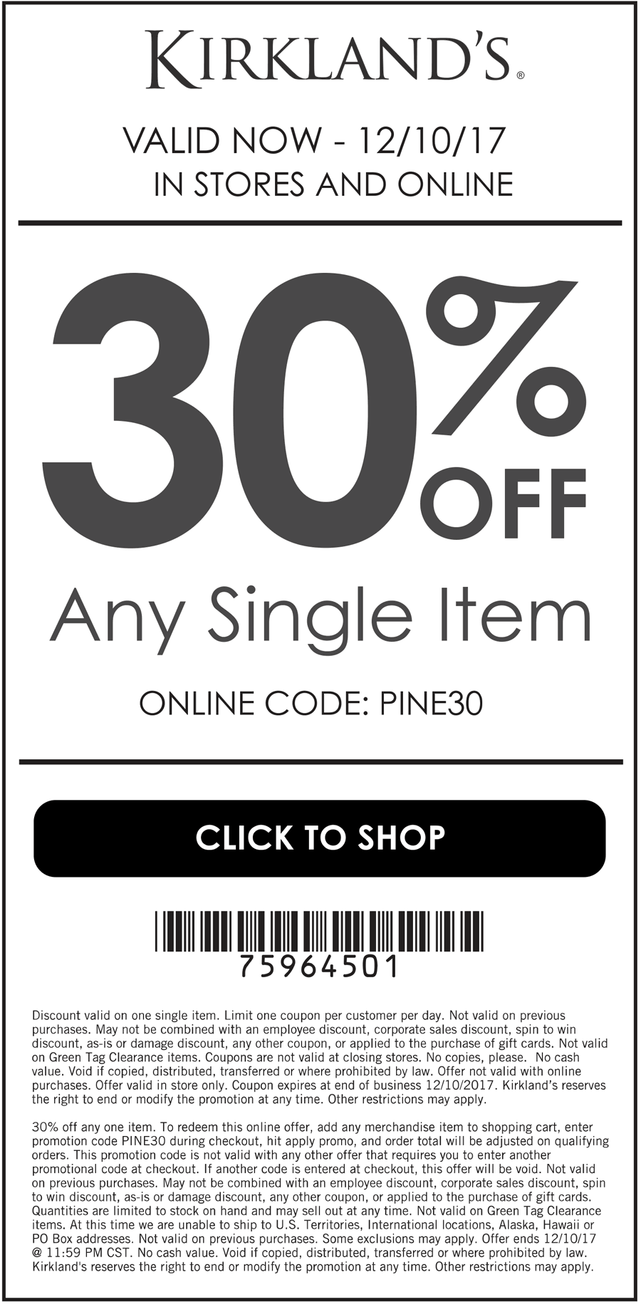 Kirklands Coupon July 2018 30% off a single item at Kirklands, or online via promo code PINE30