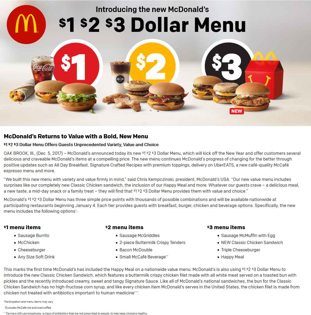 McDonalds Coupon December 2018 Happy meal added to McDonalds updated dollar menu