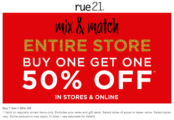 Rue21 Coupon April 2019 Second item 50% off at rue21, ditto online