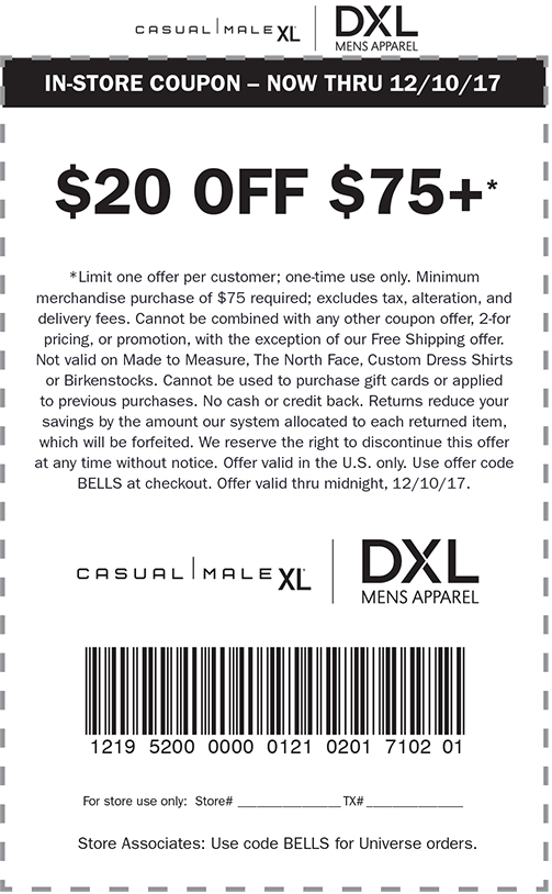 CasualMaleXL.com Promo Coupon $20 off $75 at Casual Male XL, or online via promo code BELLS