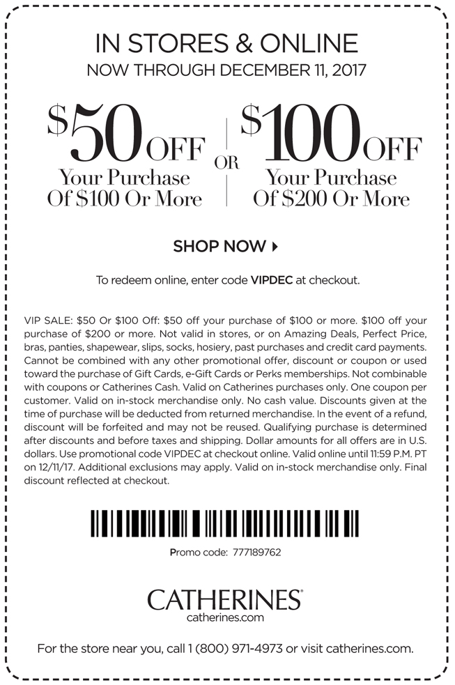 Catherines Coupon October 2018 $50 off $100 & more at Catherines, or online via promo code VIPDEC