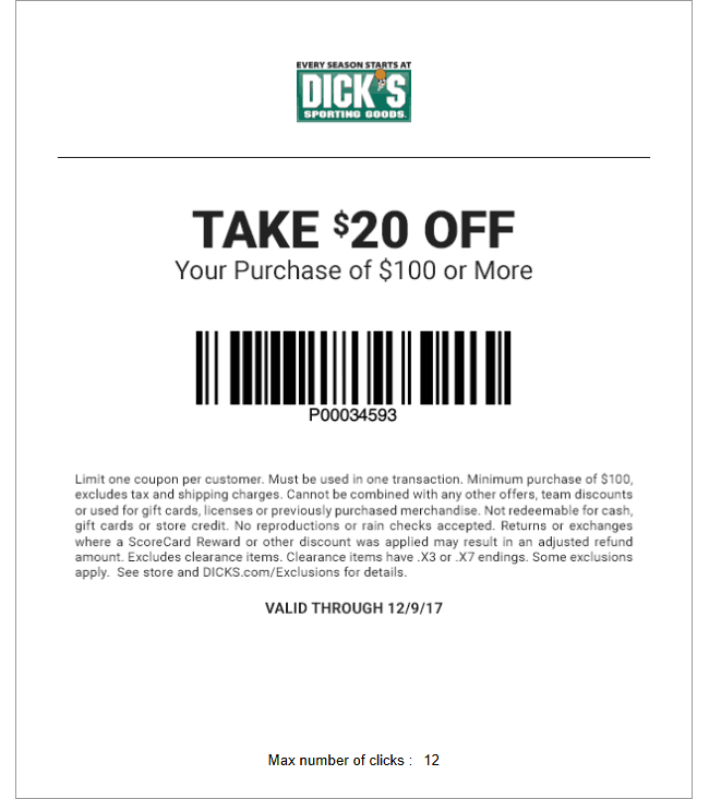 It's just a picture of Modest Coupons for Dickssportinggoods in Store Printable 2014