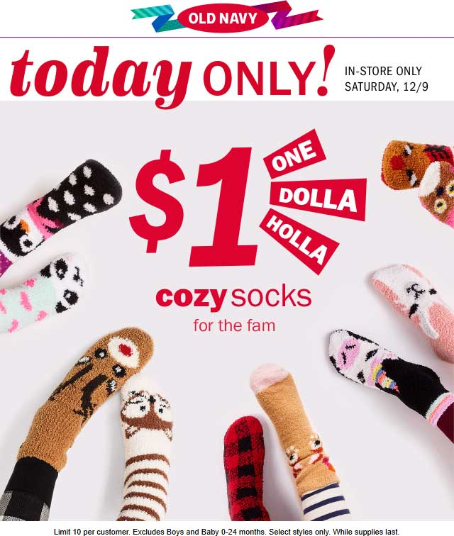 OldNavy.com Promo Coupon $1 cozy socks today at Old Navy