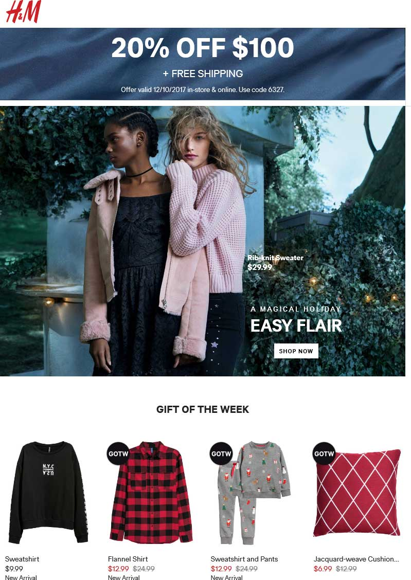 H&M Coupon August 2019 20% off $100 today at H&M, or online via promo code 6327