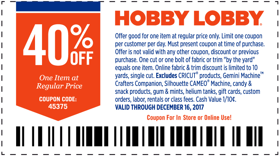 Hobby Lobby Coupon January 2018 40% off a single item at Hobby Lobby, or online via promo code 45375
