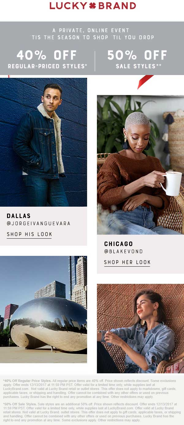 Lucky Brand Coupon March 2019 40-50% off online at Lucky Brand