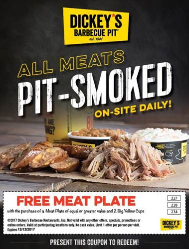 Dickeys Barbecue Pit Coupon December 2018 Second meat plate free at Dickeys Barbecue Pit