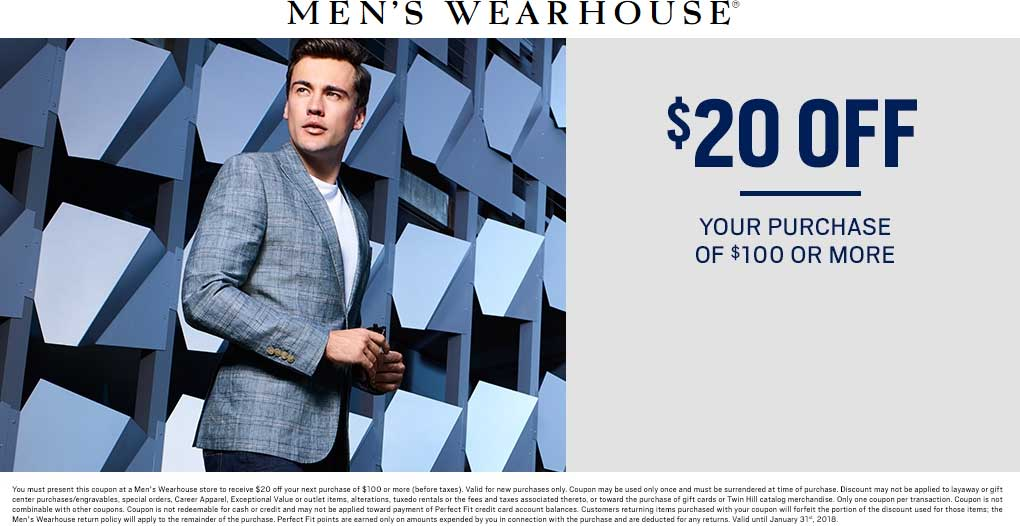 Mens Wearhouse Coupon October 2018 $20 off $100 at Mens Wearhouse