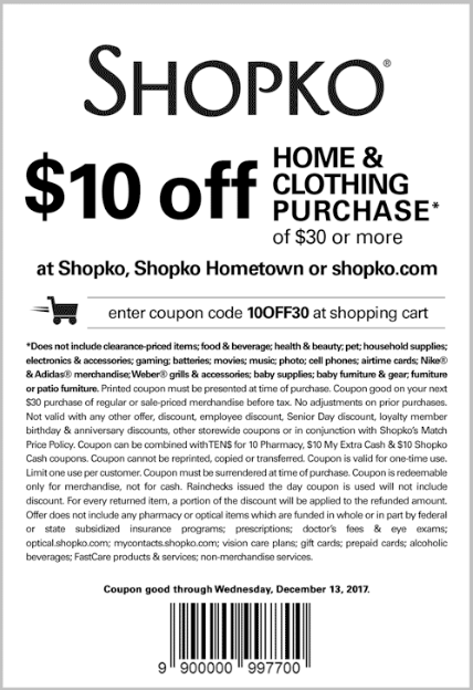 Shopko Coupon January 2019 $10 off $30 at Shopko, or online via promo code 10OFF30
