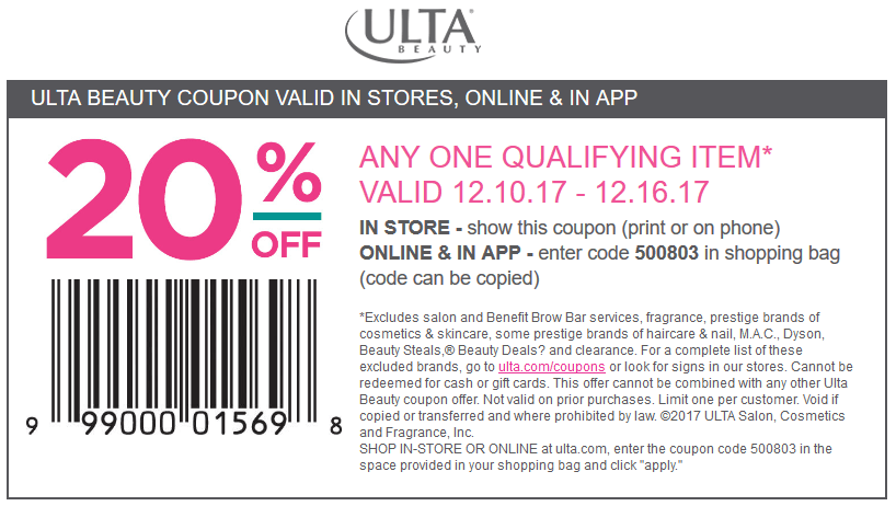 Ulta Beauty Coupon January 2019 20% off a single item at Ulta Beauty, or online via promo code 500803