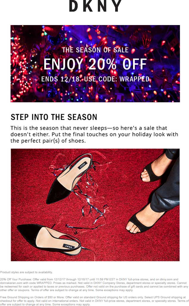 DKNY.com Promo Coupon 20% off at DKNY, or online via promo code WRAPPED