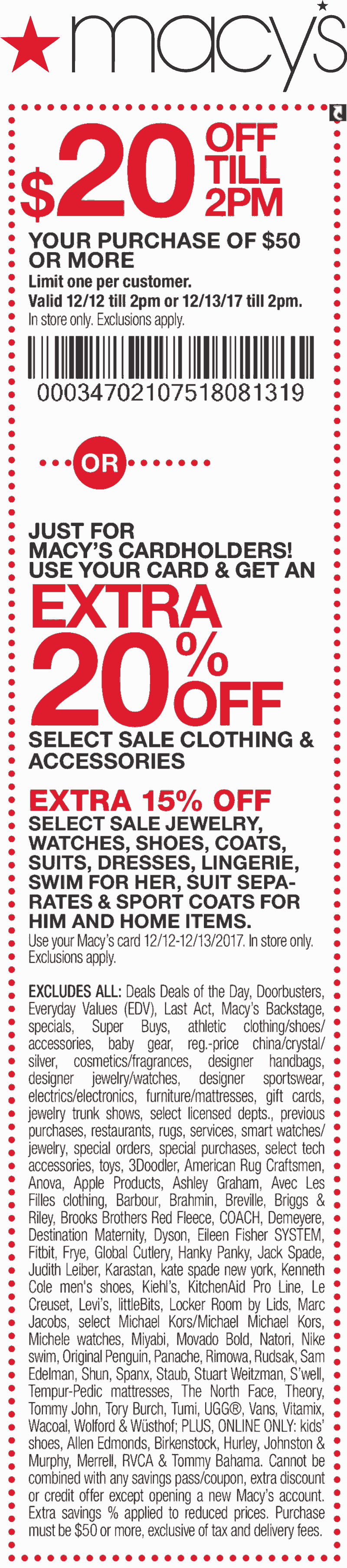 Macys.com Promo Coupon $20 off $50 til 2pm at Macys