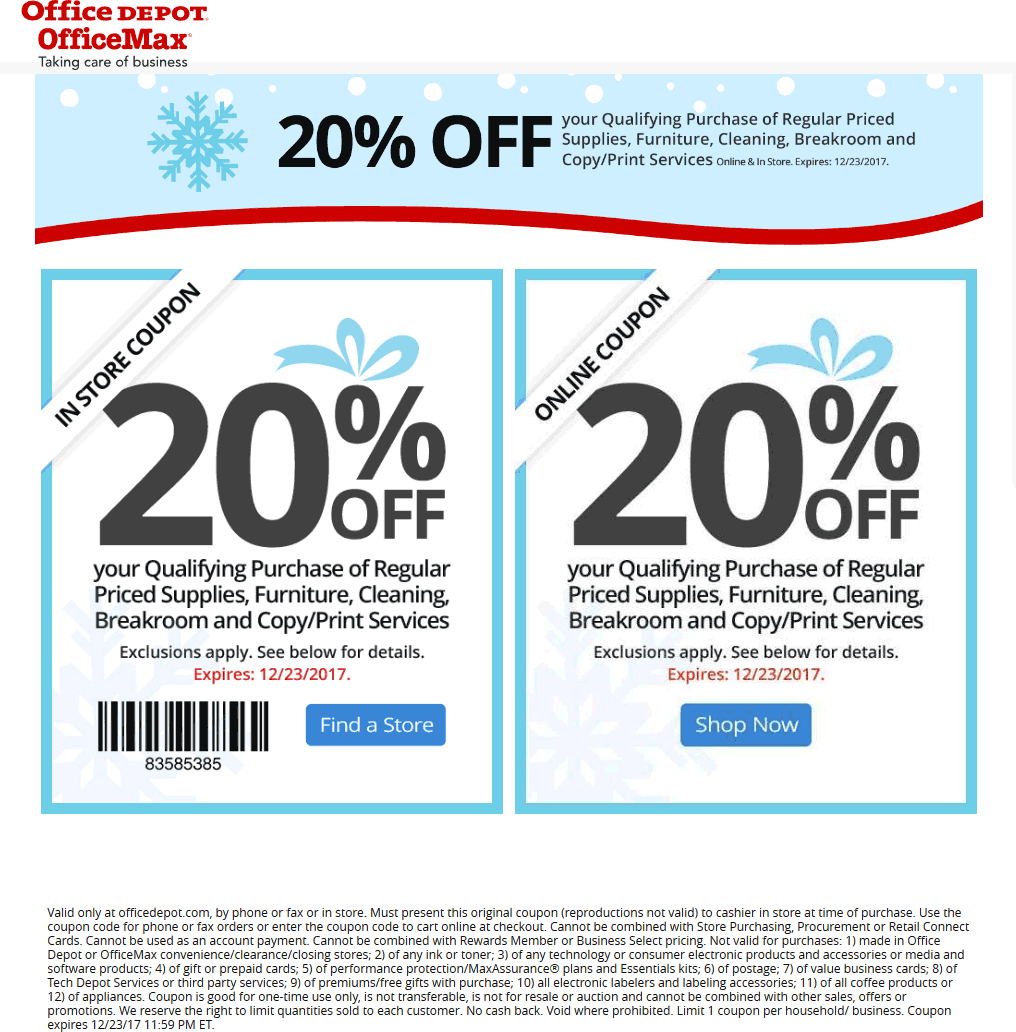 OfficeDepot.com Promo Coupon 20% off at OfficeMax & Office Depot, or online via promo code 54990813