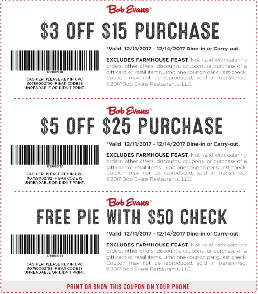 BobEvans.com Promo Coupon Free pie, $3 off $15 & more at Bob Evans restaurants