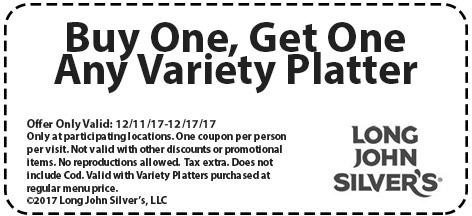 LongJohnSilvers.com Promo Coupon Second variety platter free at Long John Silvers restaurants