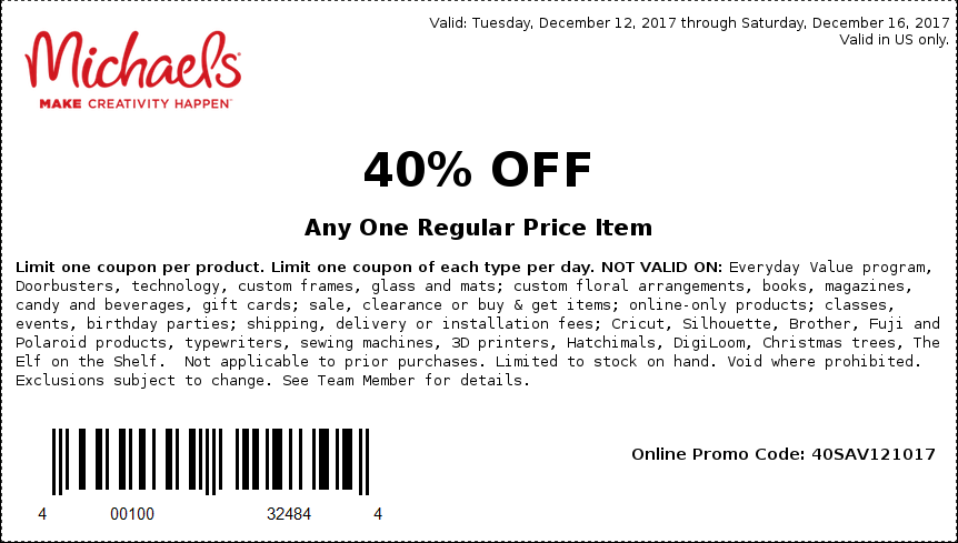 Michaels.com Promo Coupon 40% off a single item at Michaels, or online via promo code 40SAV121017