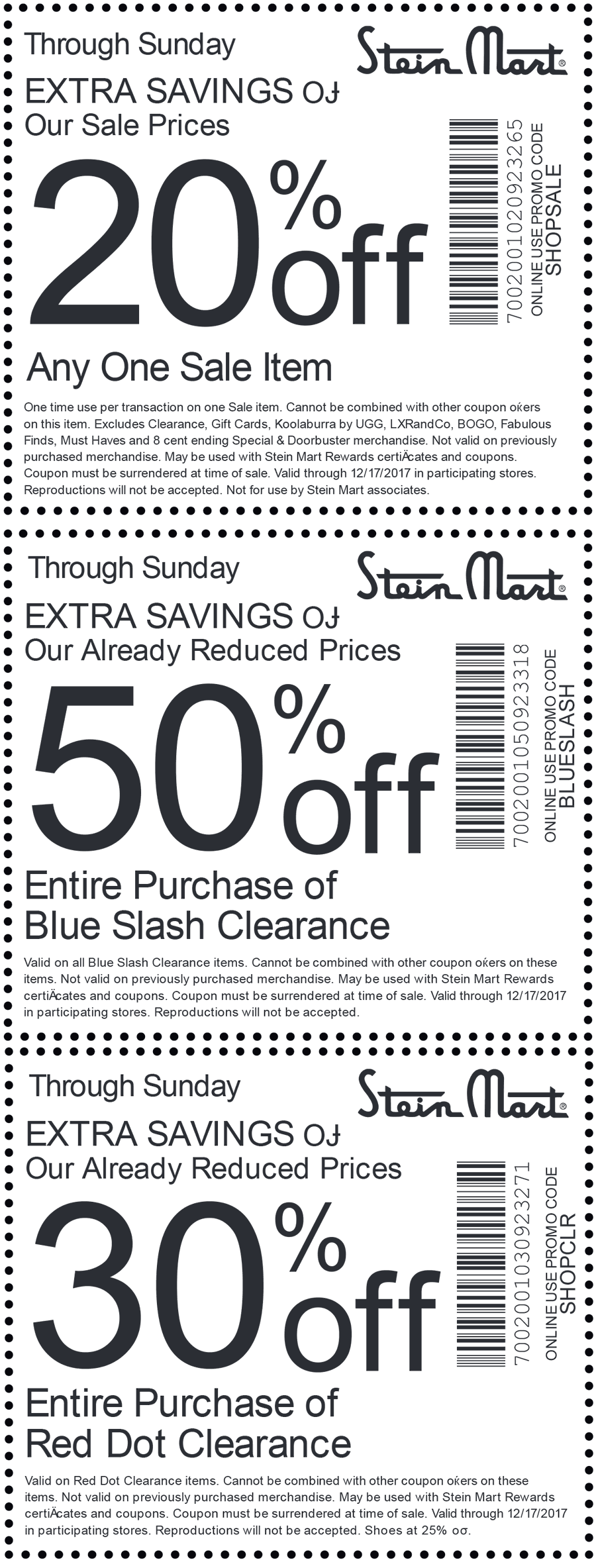 SteinMart.com Promo Coupon Extra 20-50% off at Stein Mart, or online via promo code SHOPSALE