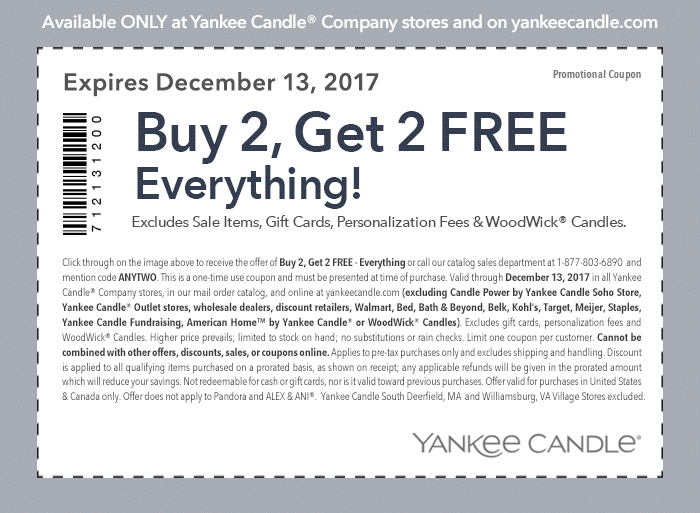 Yankee Candle Coupon October 2018 4-for-2 on everything today at Yankee Candle, or online via promo code ANYTWO