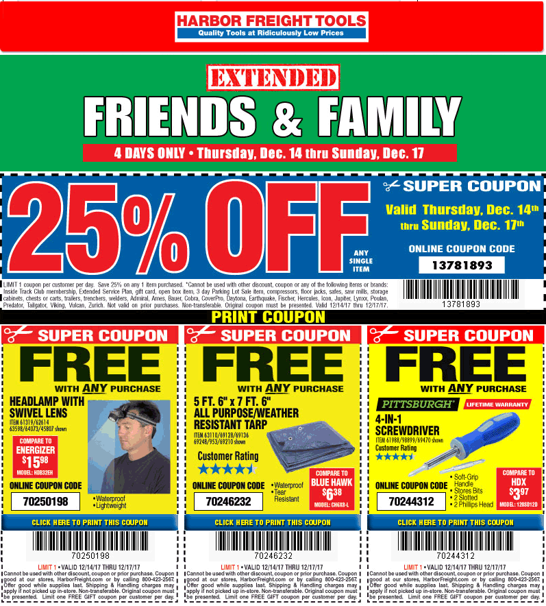Harbor Freight Tools Coupon October 2018 25% off a single item at Harbor Freight Tools, or online via promo code 13781893