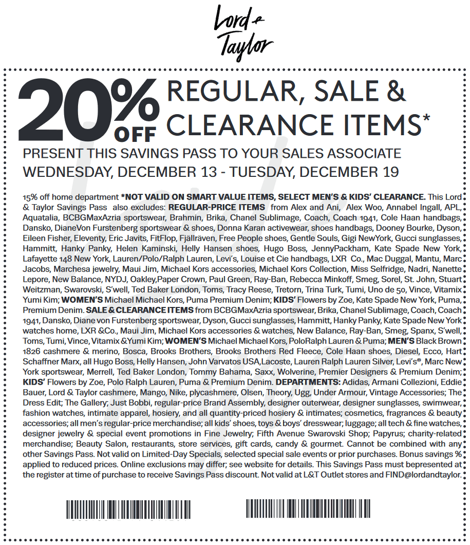 Lord&Taylor.com Promo Coupon Extra 20% off at Lord & Taylor, or online via promo code COUNTDOWN