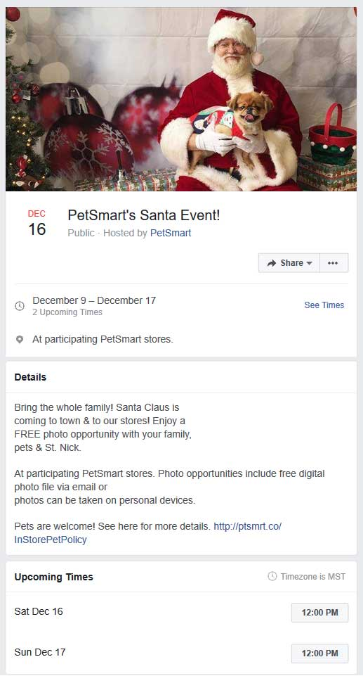 PetSmart.com Promo Coupon Free pet photo with Santa 12p Sat & Sun at Petsmart