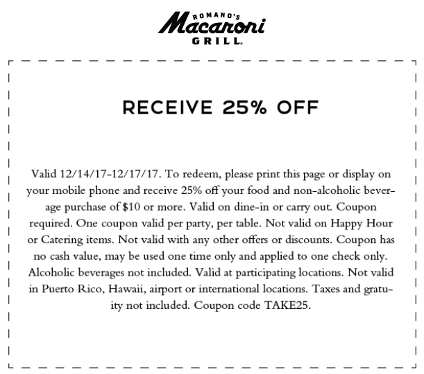 Macaroni Grill Coupon March 2019 25% off at Macaroni Grill restaurants