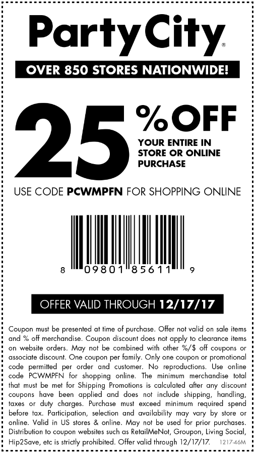 PartyCity.com Promo Coupon 25% off at Party City, or online via promo code PCWMPFN