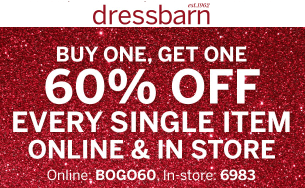 Dressbarn Coupon March 2019 Second item 60% off at Dressbarn, or online via promo code BOGO60