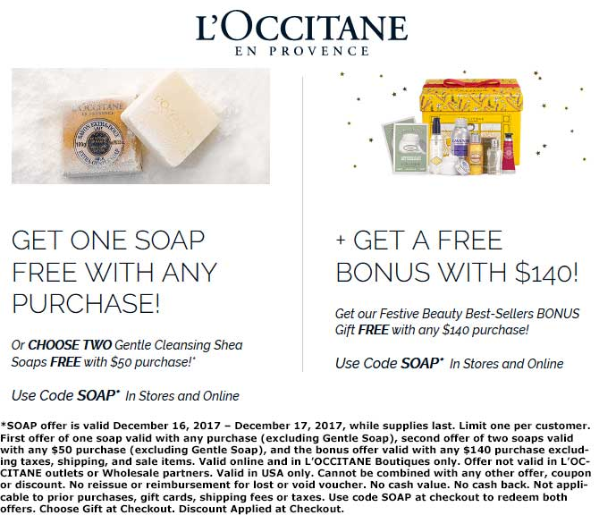 LOccitane Coupon December 2018 Free soap with any order today at LOCCITANE, or online via promo code SOAP
