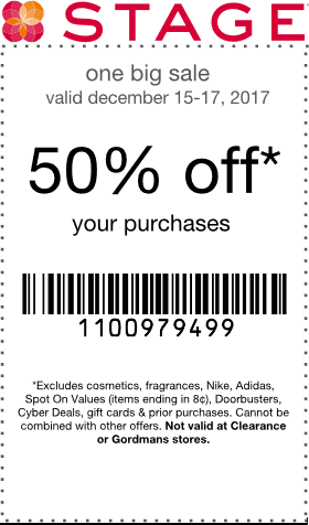 Stage Coupon December 2018 50% off today at Stage stores