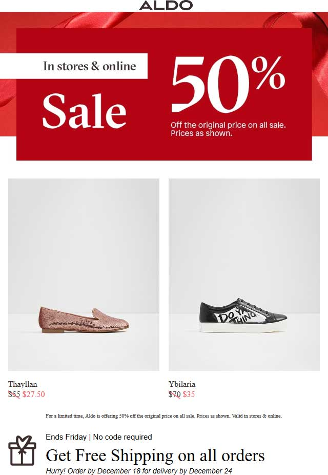 Aldo.com Promo Coupon Sale items are 50% off at Aldo, ditto online with free shipping