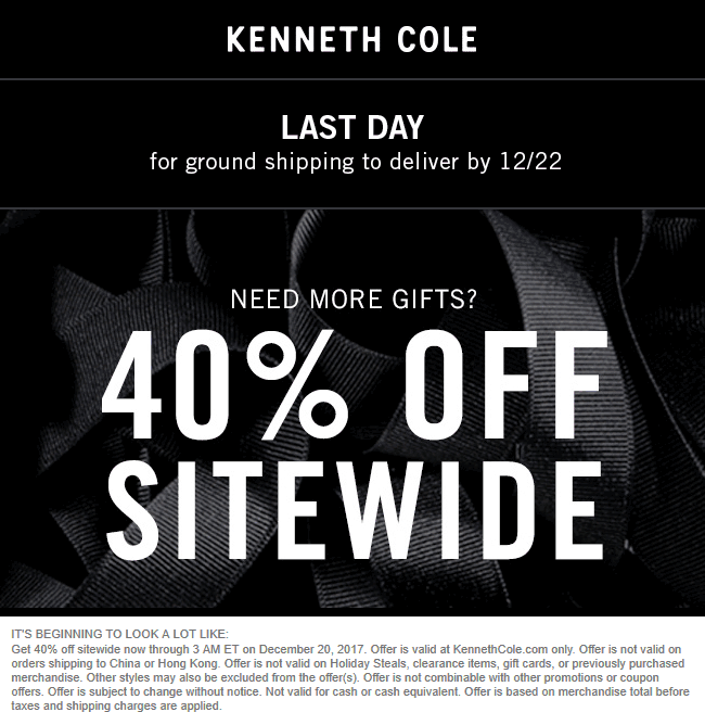 KennethCole.com Promo Coupon 40% off everything online at Kenneth Cole