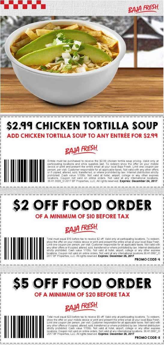 BajaFresh.com Promo Coupon $2-$5 off $10+ at Baja Fresh restaurants