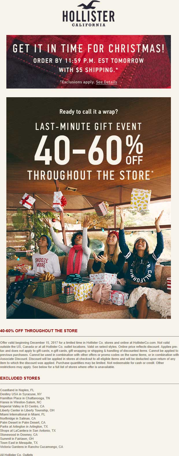 Hollister.com Promo Coupon 40-60% off at Hollister, ditto online