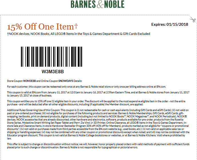 Barnes&Noble.com Promo Coupon 25% off a single item at Barnes & Noble, or online via promo code WISHLIST