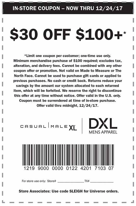 Casual Male Xl Coupon January 2019  At Casual Male Xl Dxl