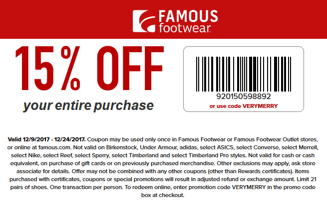 FamousFootwear.com Promo Coupon 15% off at Famous Footwear, or online via promo code VERYMERRY