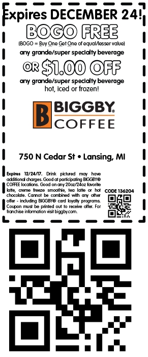 Biggby Coffee Coupon December 2018 Second beverage free at Biggby Coffee