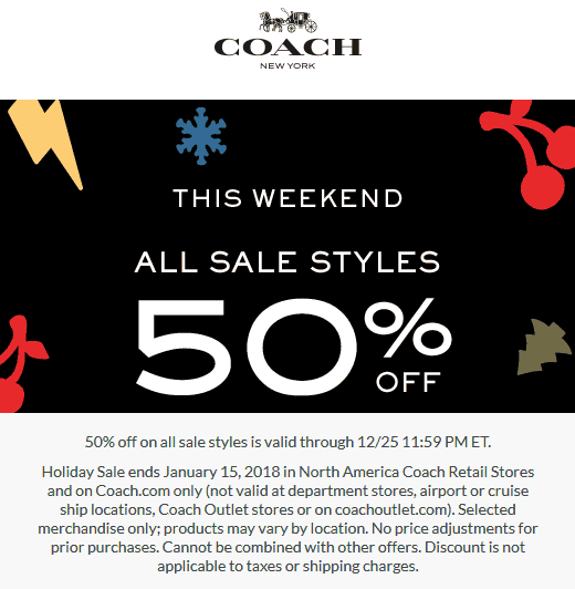 Coach.com Promo Coupon Extra 50% off sale items at Coach, ditto online