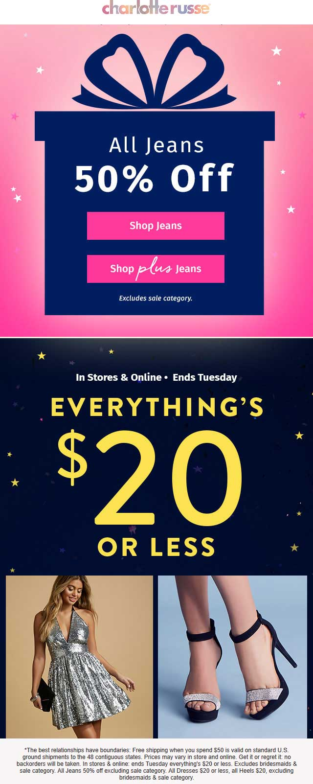 Charlotte Russe Coupon March 2019 Everything is $20 or less at Charlotte Russe, ditto online