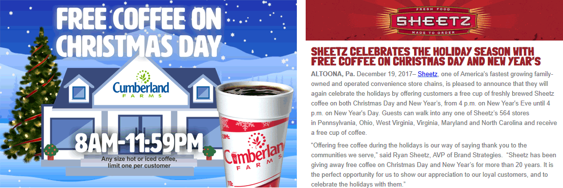 Cumberland Farms Coupon March 2019 Free cup of coffee til noon at Sheetz & Cumberland Farms